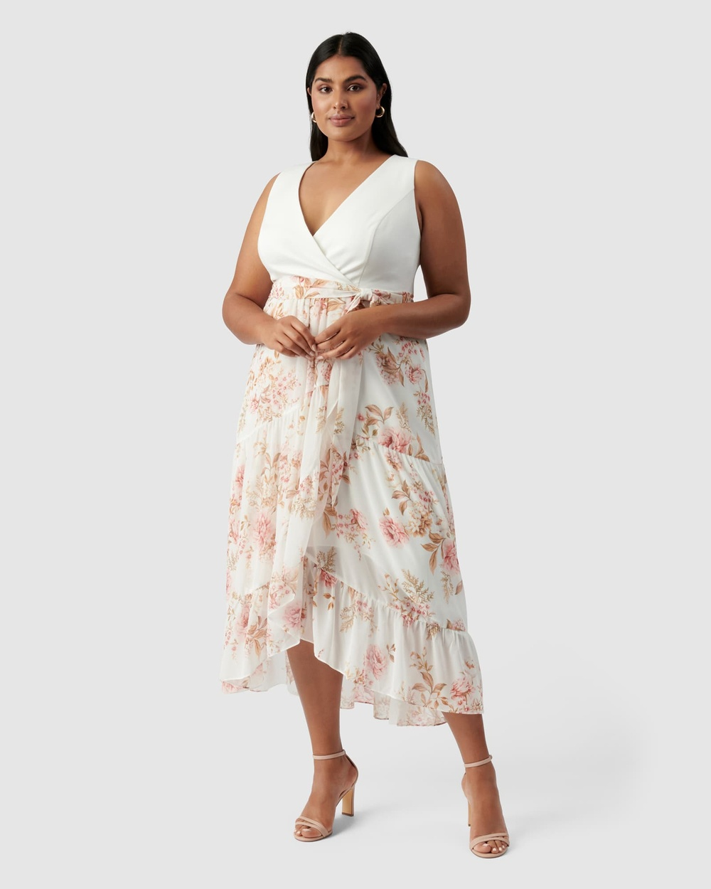 Forever New Curve Clover Wrap 2 in 1 Midi Dress Printed Dresses Dusk Floral