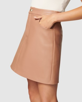 Forever New Kim Vegan Leather Mini Skirt - Skirts (Nougat Brown)