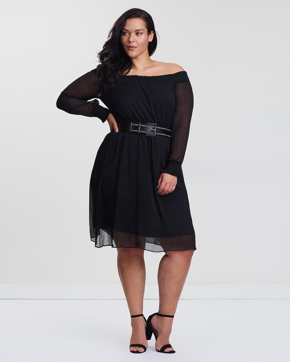 Lost Ink Plus Black Bardot Dress with Belt