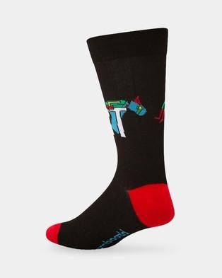 Bamboozld I'm Over It Laser Beak Man Socks - Crew Socks (Black)