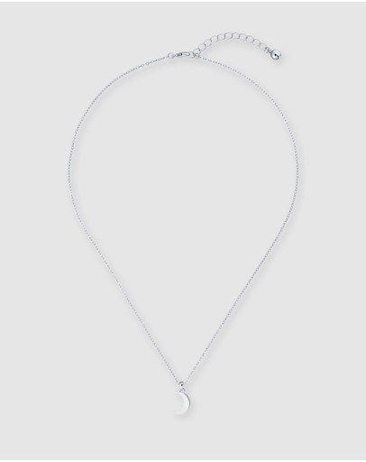 Ted Baker Marai Crescent Moon Pendant Necklace Silver & Crystal