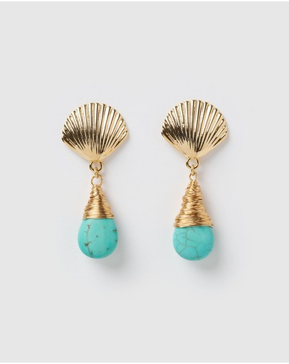 Miz Casa And Co Abyss Earrings Gold Turquoise