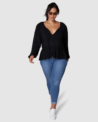 Indigo Tonic Isadora Tie Front Blouse - Tops (BLACK)