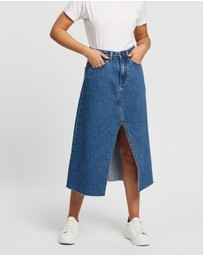 Atmos&Here - Miami Split Front Denim Skirt