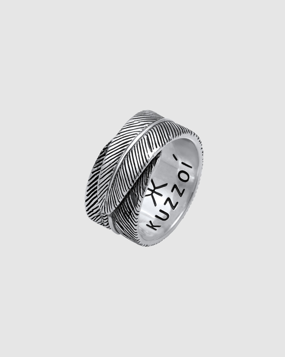 Kuzzoi Ring Feather Vintage Trend Oxidised in 925 Sterling Silver Jewellery Silver