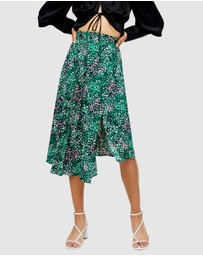 TOPSHOP Petite - Painted Spot Pleat Midi Skirt