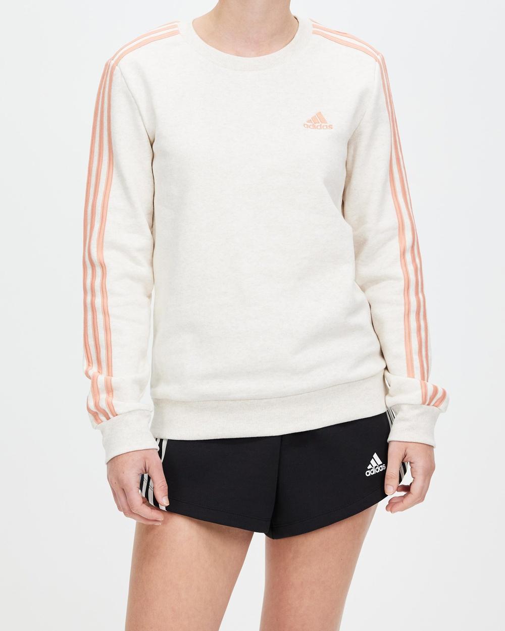 adidas Performance Essentials 3 Stripes Fleece Sweatshirt Crew Necks Off White & Ambient Blush 3-Stripes