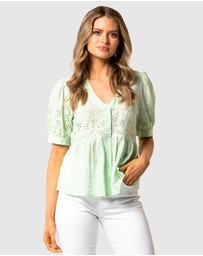 Forever New - Shirley Broderie Puff Sleeve Blouse
