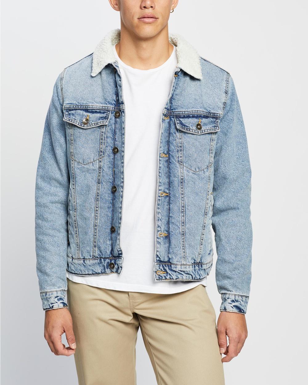 Cotton On Borg Denim Jacket jacket Distressed Blue Australia