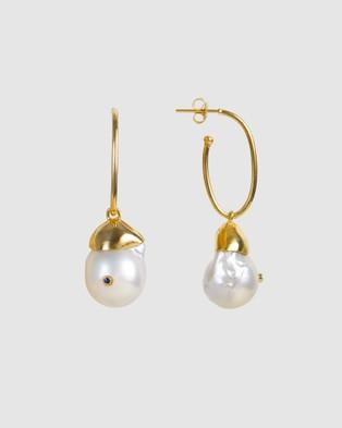 FAIRLEY - Baroque Pearl Neptune Hoops Jewellery (Gold)