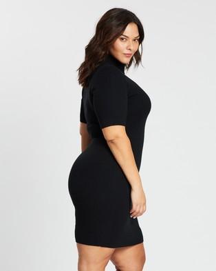 Atmos&Here Curvy - Knit Skivvy Dress - Bodycon Dresses (Black) Knit Skivvy Dress