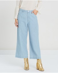 MINKPINK - Today Stripe Cropped Jeans