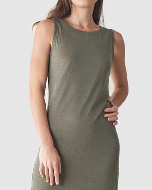 Amelius Aceline Linen Tank Dress - Dresses (Khaki)