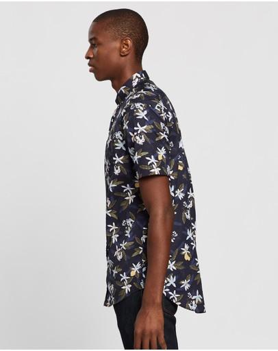 Gant Lemon Flower Print Regular Ss Button-down Shirt Insignia Blue