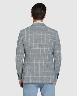 Oxford Blake Linen Blend Checked Blazer - Blazers (Grey)