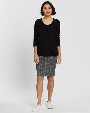 Angel Maternity Ponti Skirt - Pencil skirts (Black Print)
