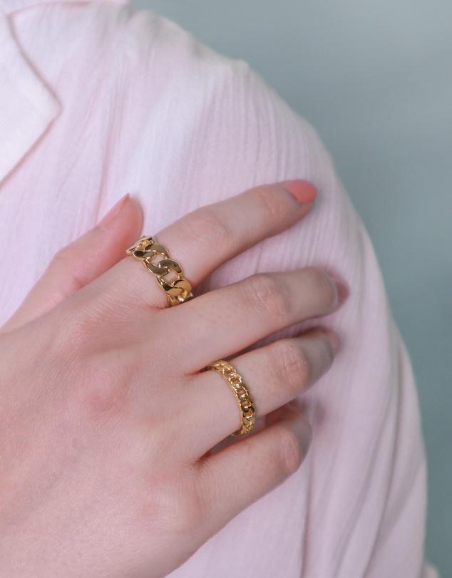 Women Curb Chain Gold Ring Set
