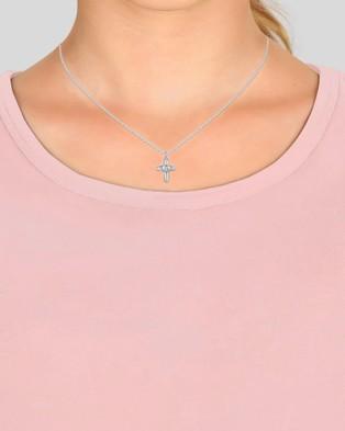 Elli Jewelry Kids - Necklace Kids Cross Heart Swarovski?« Crystals 925 Sterling Silver - Jewellery (Silver)