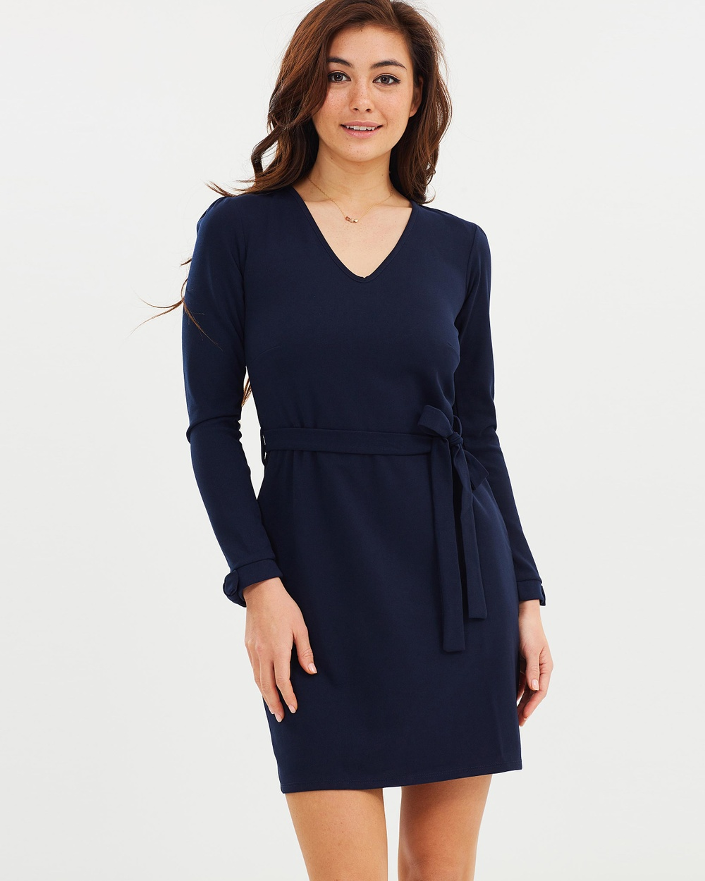 Dorothy Perkins Long Sleeve Tie Belted Dress Dresses Navy Blue Long Sleeve Tie Belted Dress