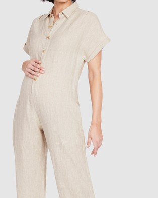 Soon Maternity Lily Buttoned Jumpsuit - Jumpsuits & Playsuits (NUDE)