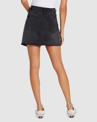 Neon Hart Winnie Wrap Denim Skirt - Skirts (BLACK)