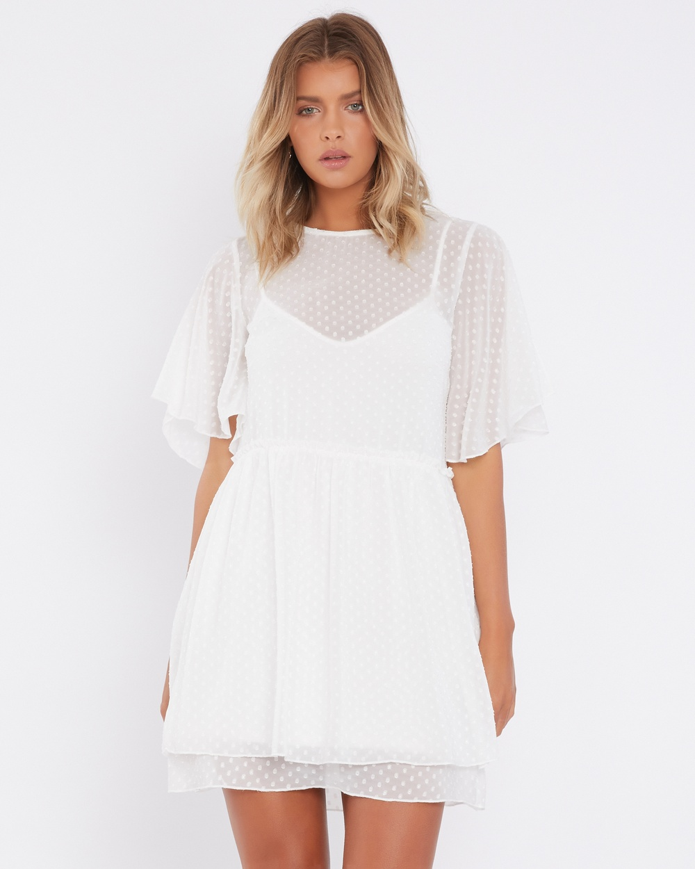 Calli Astrid Split Sleeve Dress Dresses White Polka Dot Astrid Split-Sleeve Dress