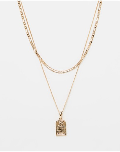 Chained & Able St Christopher Tag Figaro Layer Necklace Gold