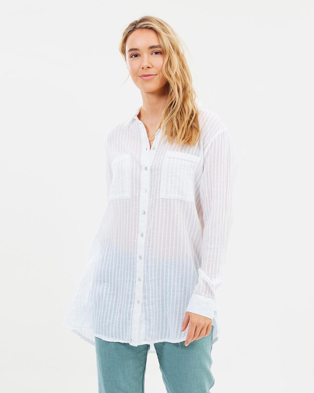 Rusty Sabrina Beach Shirt Swimwear White Sabrina Beach Shirt