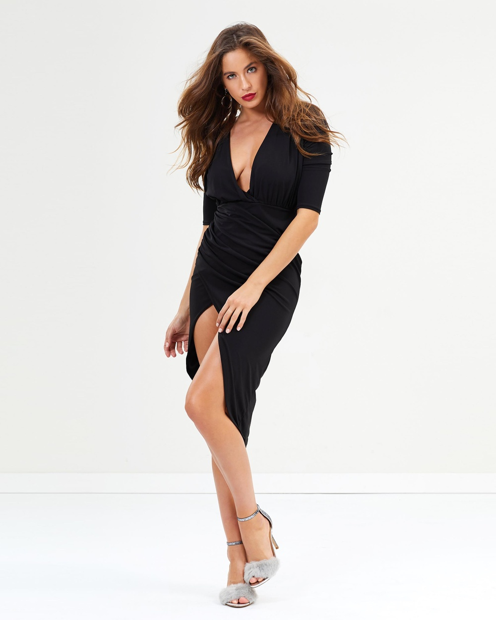 Missguided Asymmetric Wrap Midi Dress Bodycon Dresses Black Asymmetric Wrap Midi Dress