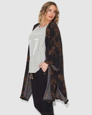 17 Sundays Black Floral Kimono - Coats & Jackets (Black)