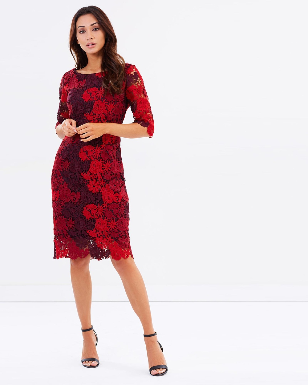 Montique Grace Tonal Lace Shift Dresses Wine Grace Tonal Lace Shift