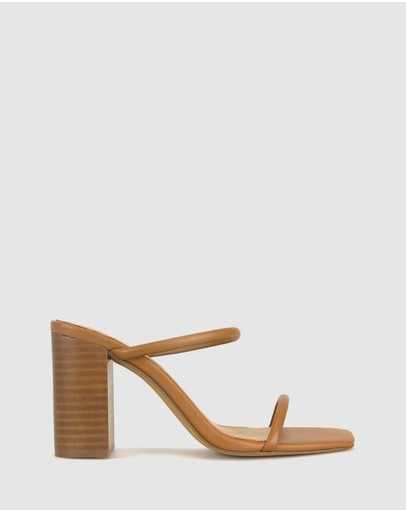Zu Gem Leather Block Heel Sandals Tan