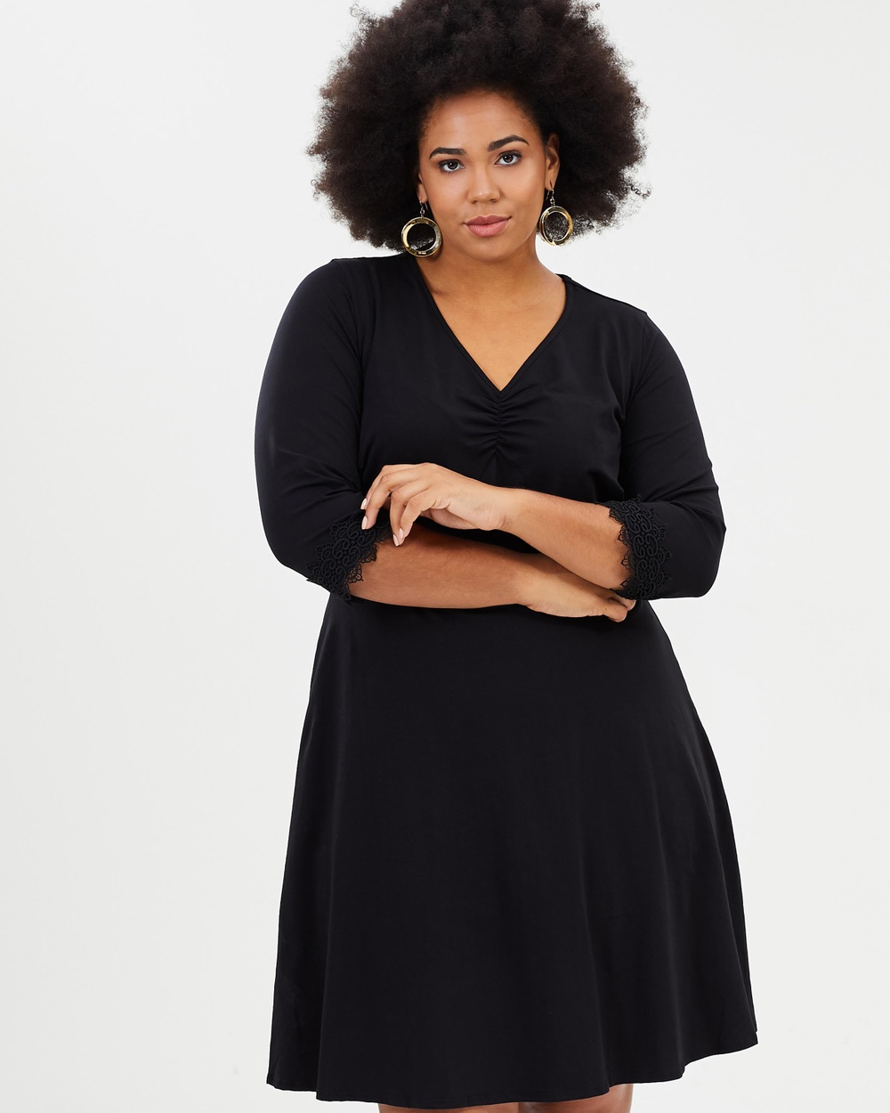 DP Curve 3 4 Sleeve Lace Trim Fit And Flare Dress Dresses Black 3-4 Sleeve Lace Trim Fit-And-Flare Dress