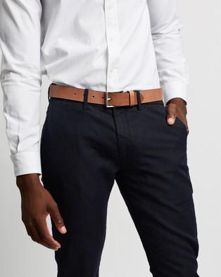 Double Oak Mills Smooth Leather 35mm Belt - Belts (Tan & Silver)
