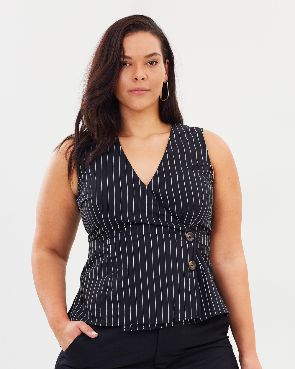 Atmos & Here Curvy ICONIC EXCLUSIVE Ali Asymmetrical Button Front Top Tops Black & White Stripes ICONIC EXCLUSIVE Ali Asymmetrical Button Front Top