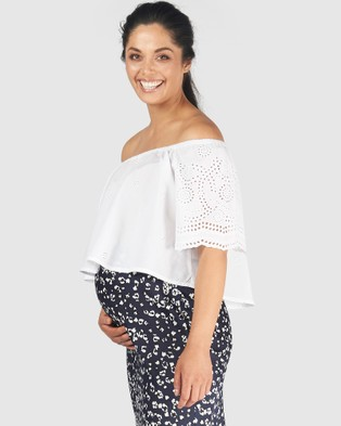 Pea in a Pod Maternity Prue Broderie Crop Top - T-Shirts & Singlets (White)