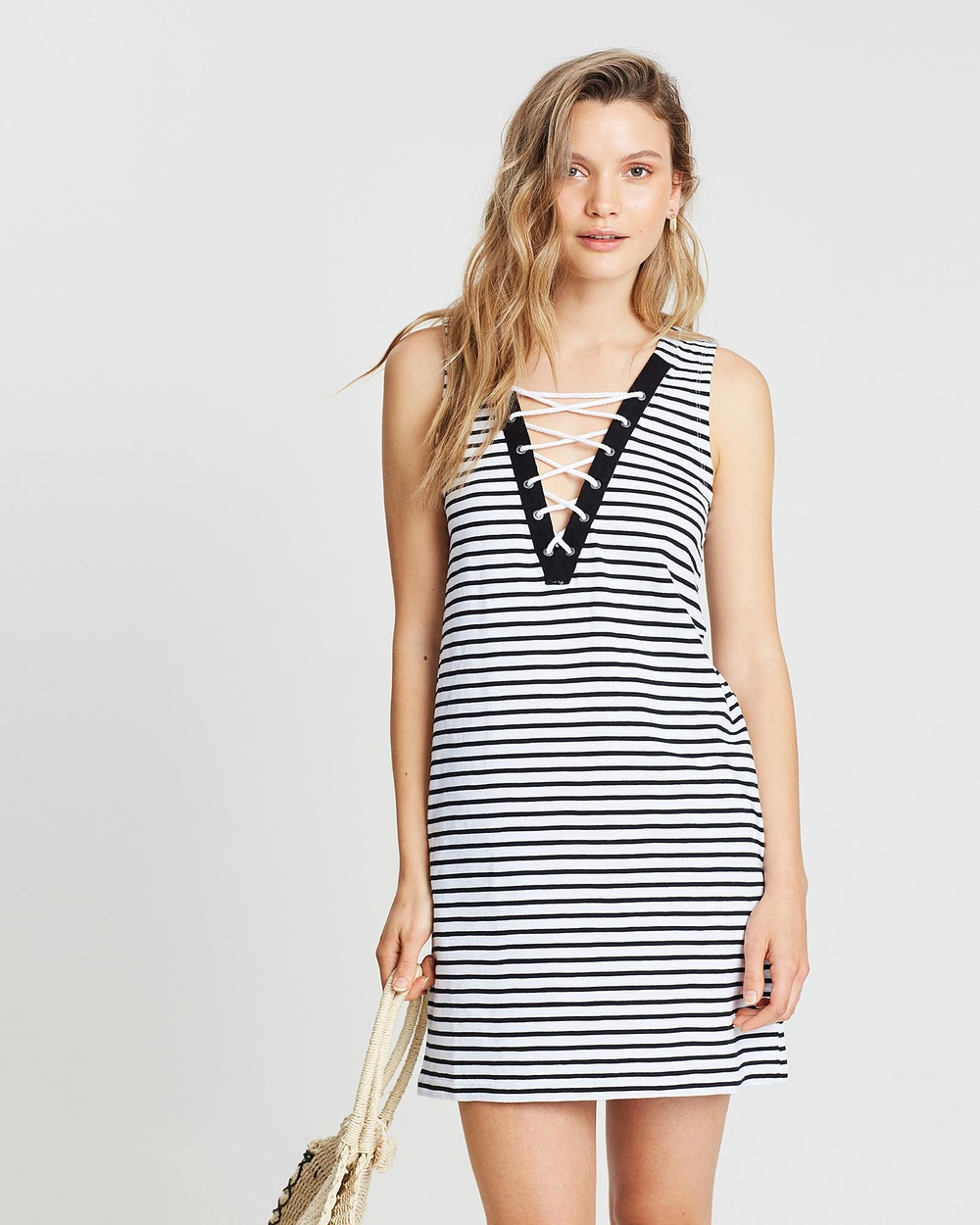Rusty White Laced Down Striped Dress