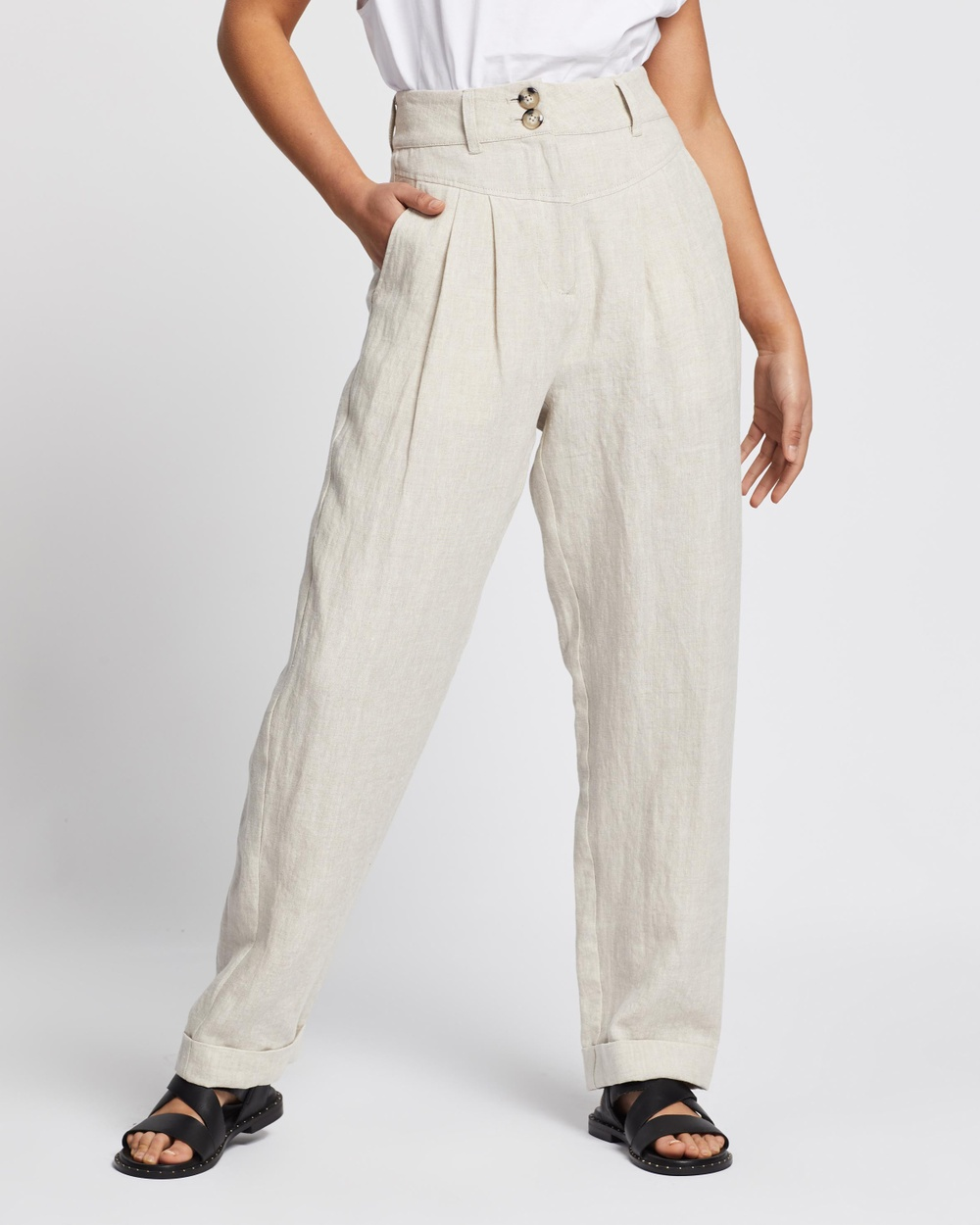 AERE Linen Tapered Pants Neutral