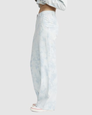 Jac & Mooki Bleached Chambray Wide Leg Pants - Jeans (bleached wash)
