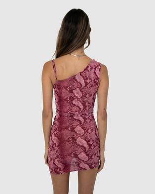 BY.DYLN Vayda Dress Bodycon Dresses Pink Snake