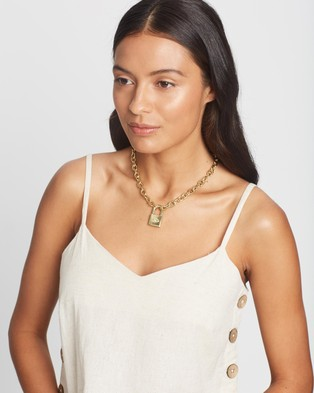 Luv Aj The Evil Eye Padlock Gold Chain Necklace - Jewellery (Gold)