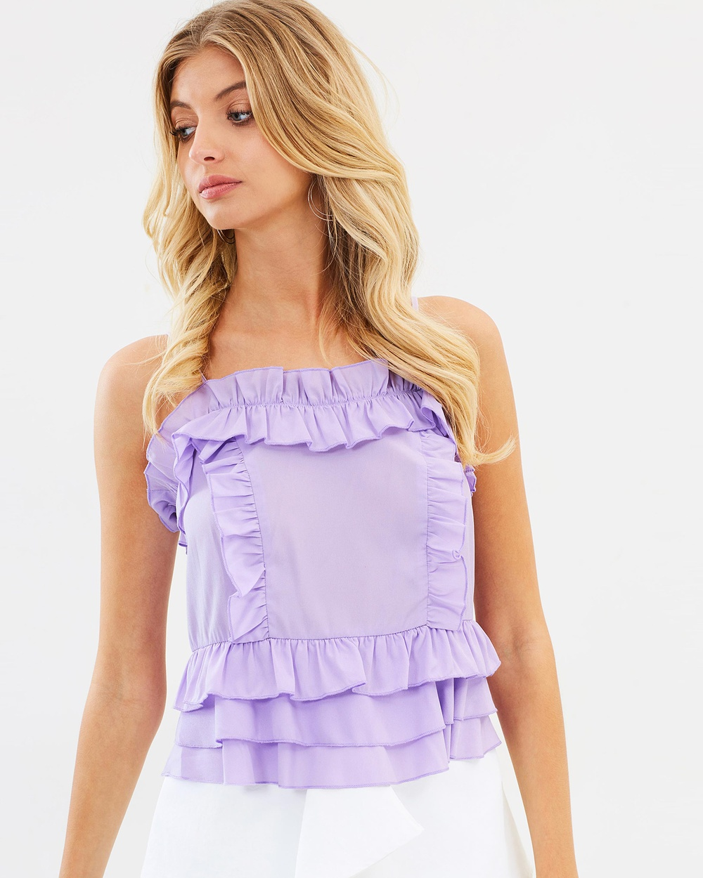 Atmos & Here ICONIC EXCLUSIVE Tammy Ruffle Cami Tops Lilac ICONIC EXCLUSIVE Tammy Ruffle Cami