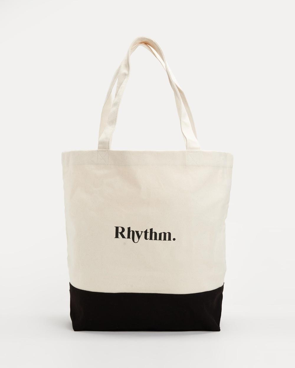 Rhythm Canvas Beach Tote Bags Black