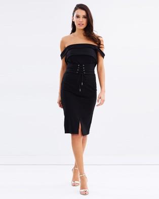 Ivory & Chain – Karina Corset Belt Dress – Bodycon Dresses (Black)
