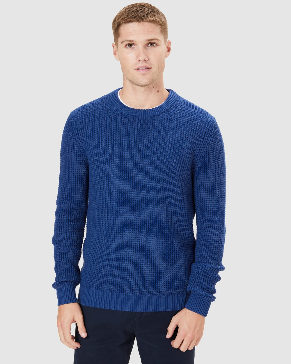 French Connection Chunky Waffle Knit Jumpers & Cardigans VINTAGE BLUE Australia