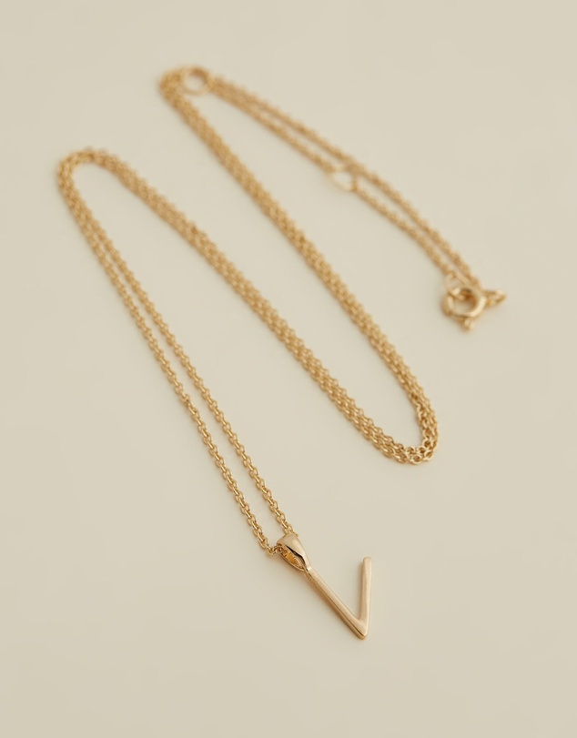 Women Initial Necklace - V