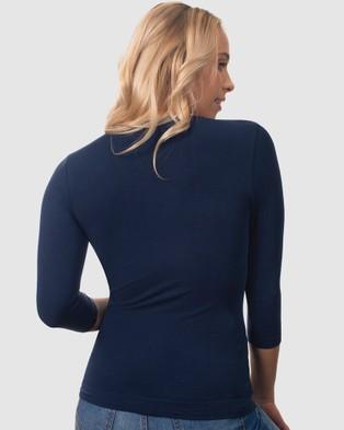 B Free Intimate Apparel - Bamboo 3 4 Sleeve Top - Long Sleeve T-Shirts (Pacific Blue) Bamboo 3-4 Sleeve Top