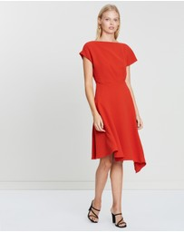 REISS - Victoria Cap Sleeve Asymmetric Hem Dress