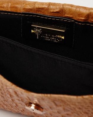 Marlafiji - Kim Cognac croc embossed Italian suede clutch shoulderbag - Clutches (Cognac) Kim Cognac croc embossed Italian suede clutch-shoulderbag