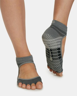 Gaiam Mary Jane Yoga Open Toe Socks - Ankle Socks (Grey & Black)